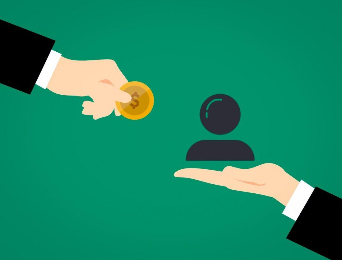 handing in coin