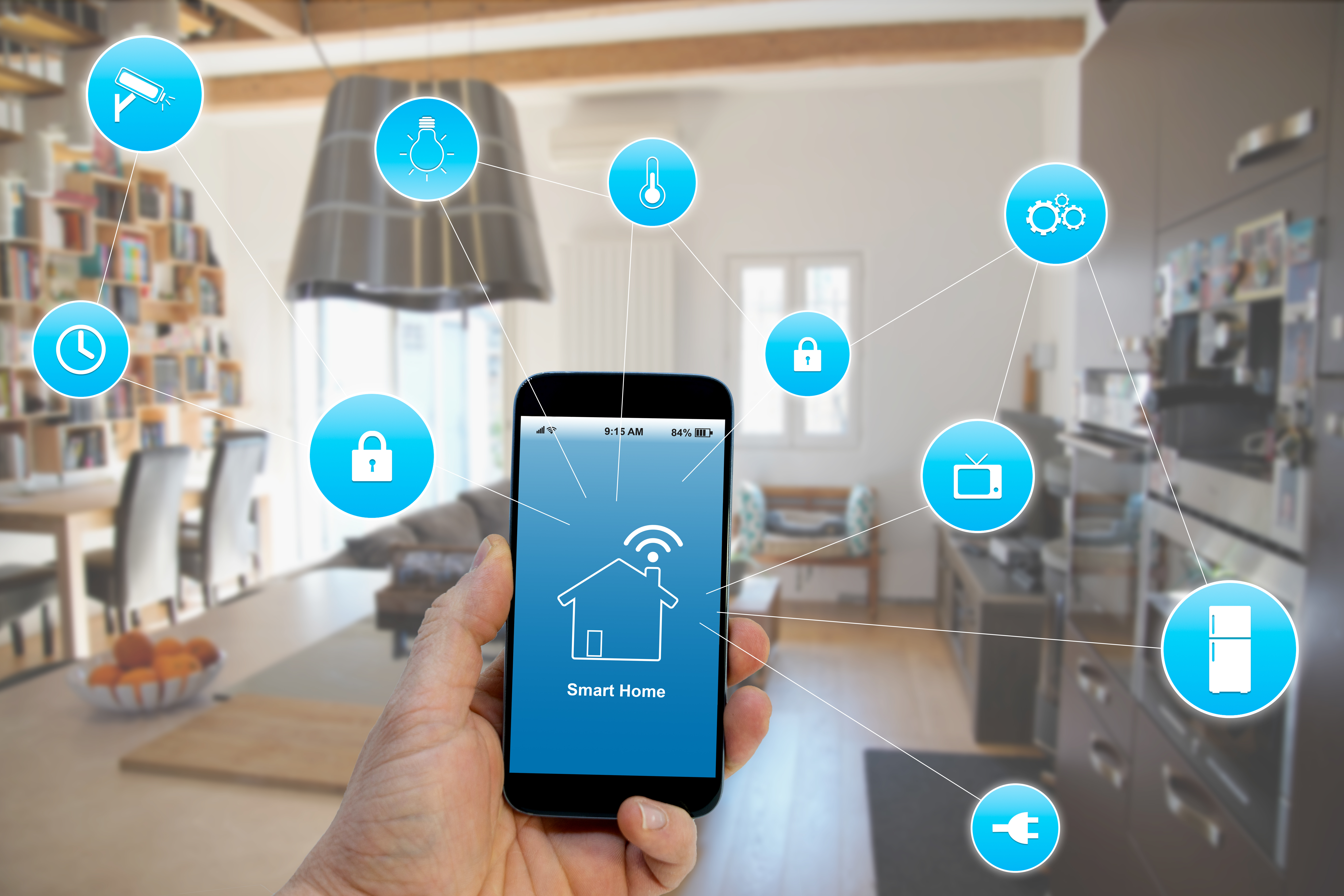 Smart Home concept Hand holding smartphone with smart home application on screen