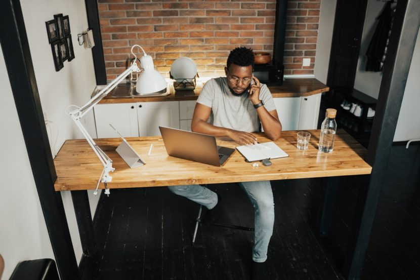 man on computer-entrepreneur-office-work from home